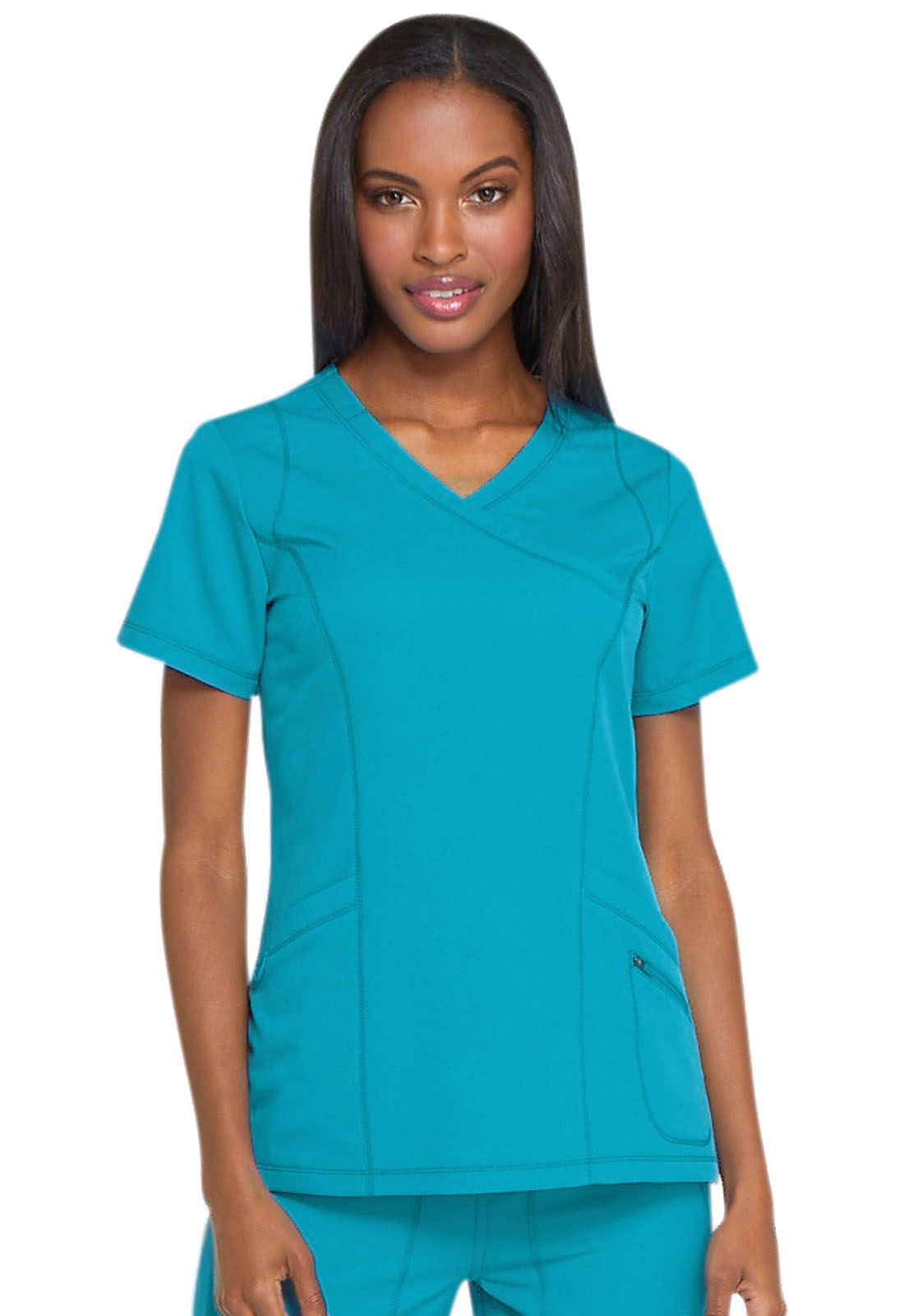 79b09a80228 Dickies Dynamix Mock Wrap Top in Teal Blue from Dickies Medical