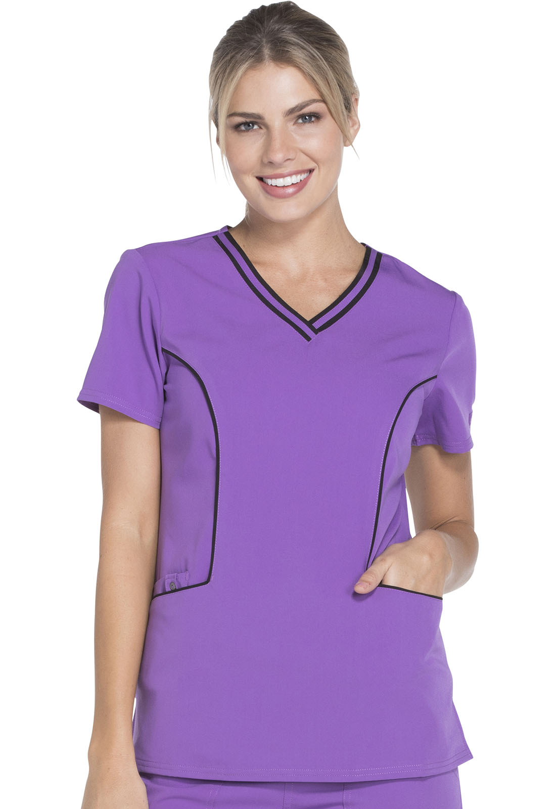cc2a900f7ae Xtreme Stretch Contrast Piping V-Neck Top in Purplicious DK715-PLCS ...