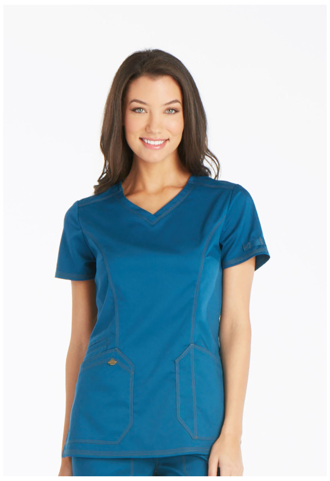 993bb1e5 Dickies V-Neck Top (Regular) in Caribbean Blue from The Freedom Company