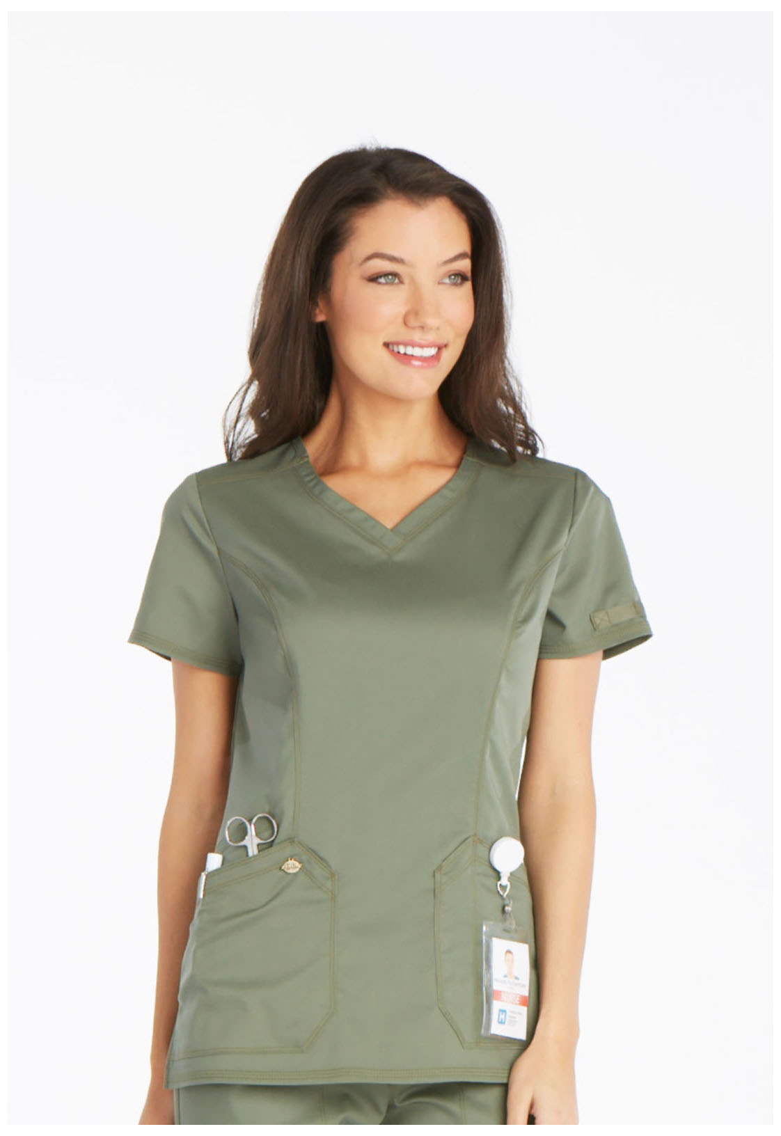cd580d1b Dickies V-Neck Top (Regular) in Olive from Cherokee Scrubs at Cherokee 4  Less