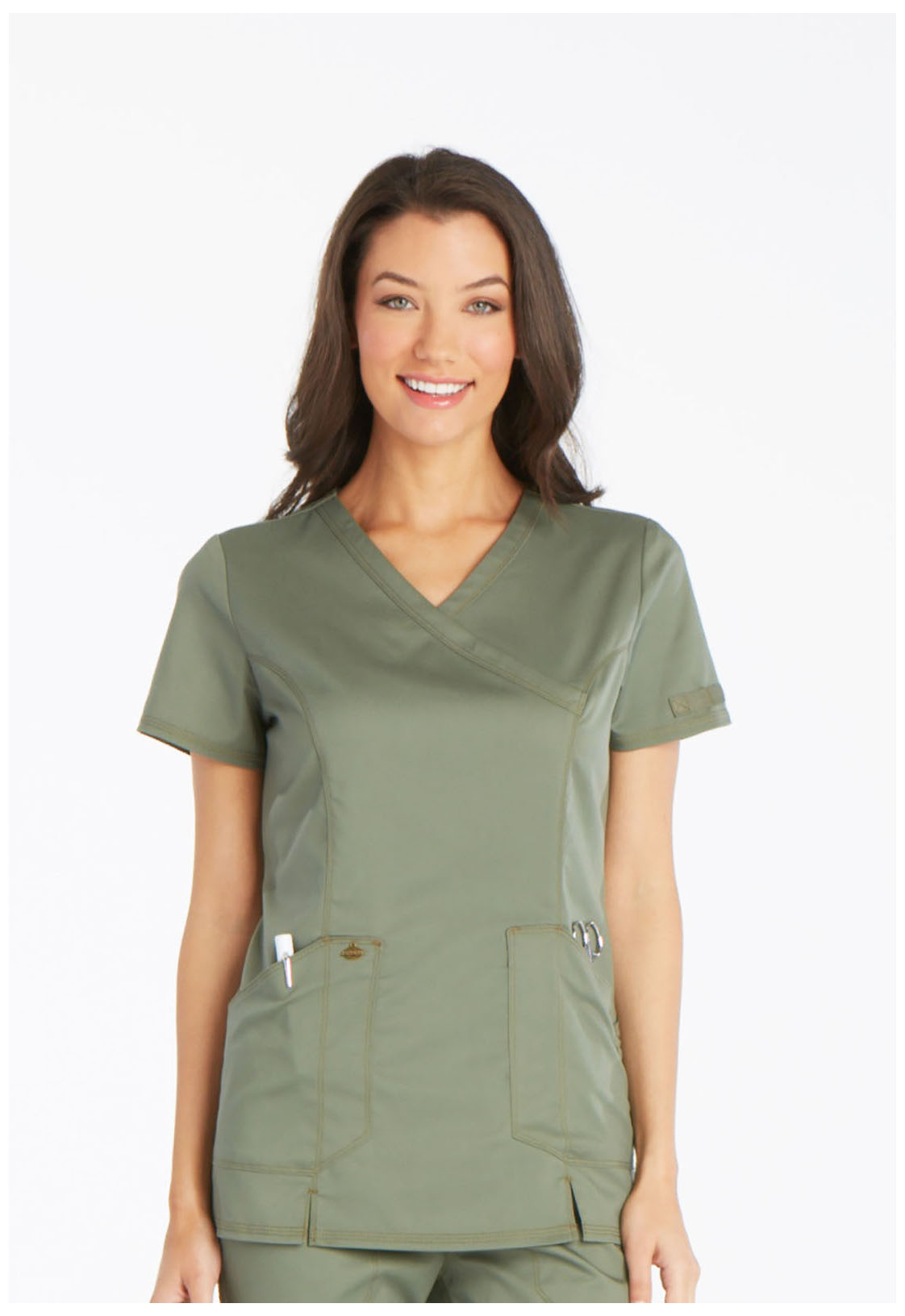 6472ae34366 Essence Mock Wrap Top in Olive DK804-OLV from Scrubs Express