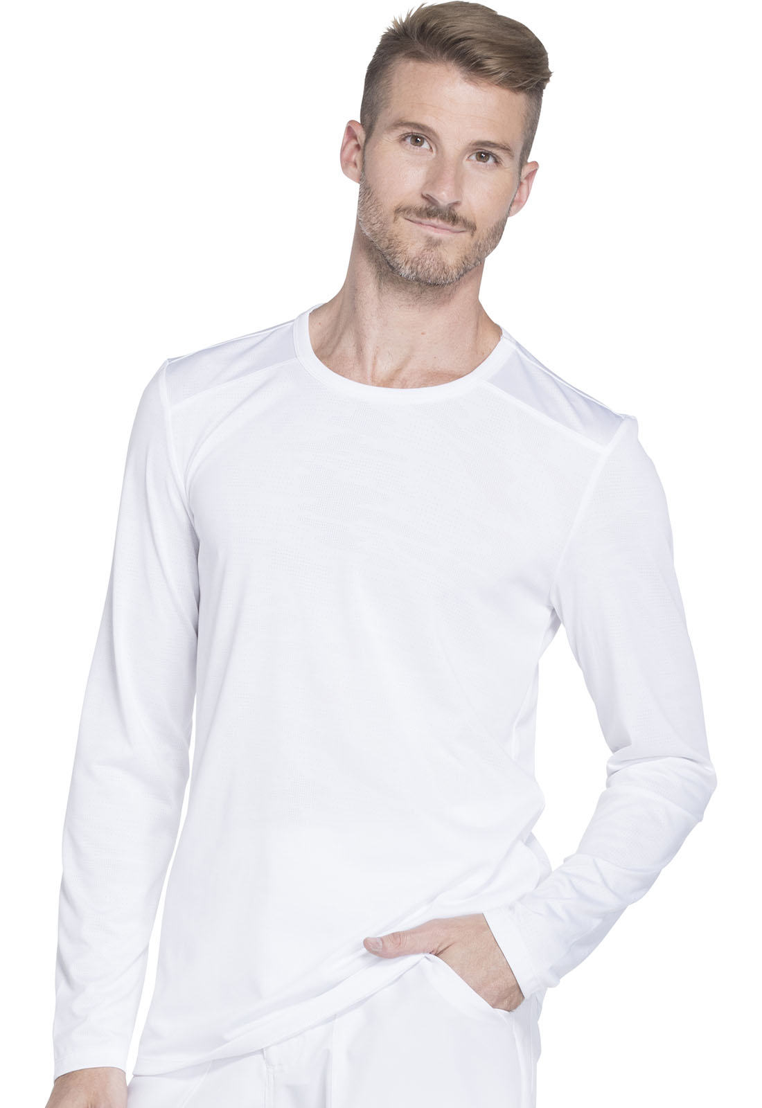 Mens Long Sleeve Underscrub Knit Top In White From Dickies Medical