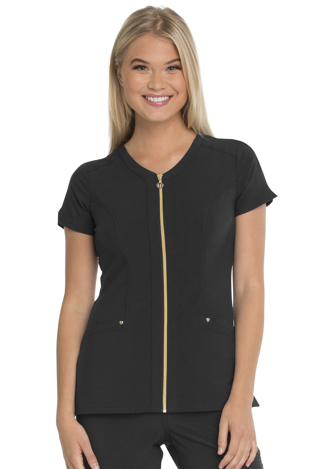f1a787f8388 Love Always Zip Front V-Neck Top in Black HS655-BAPS from Cherokee ...