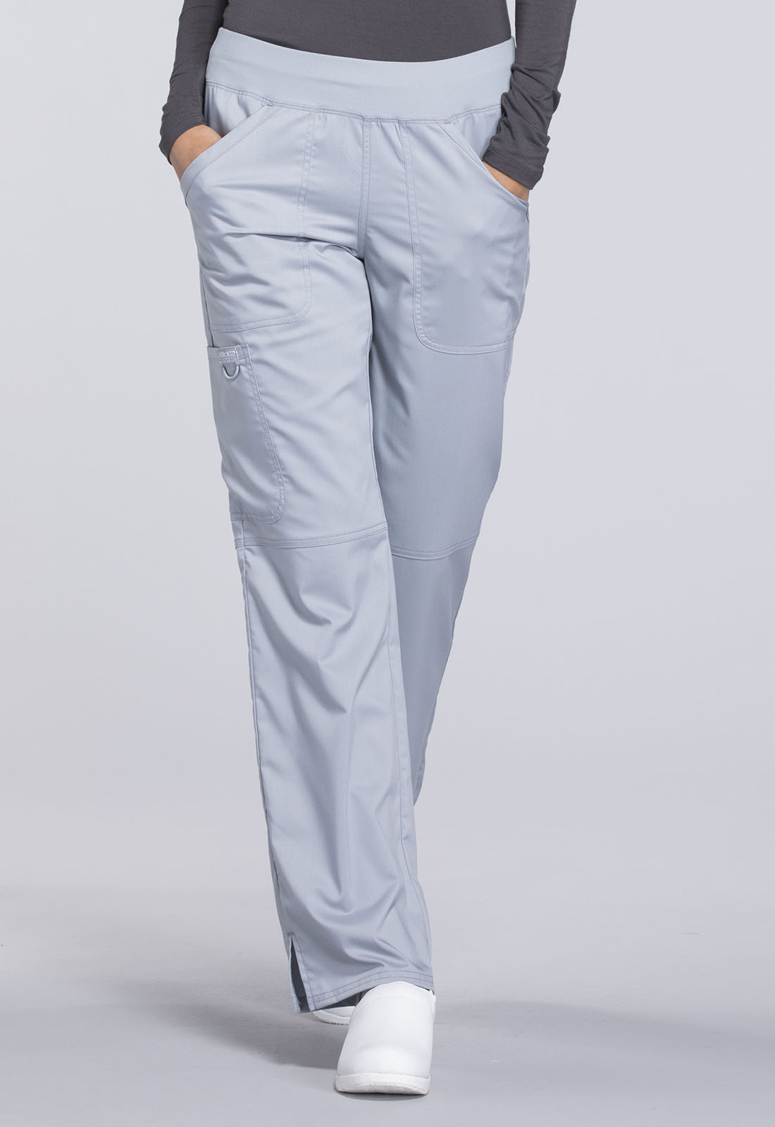 83ee16a7710 Cherokee Workwear. WW Revolution Mid Rise Straight Leg Pull-on Pant in Grey  (Petite)