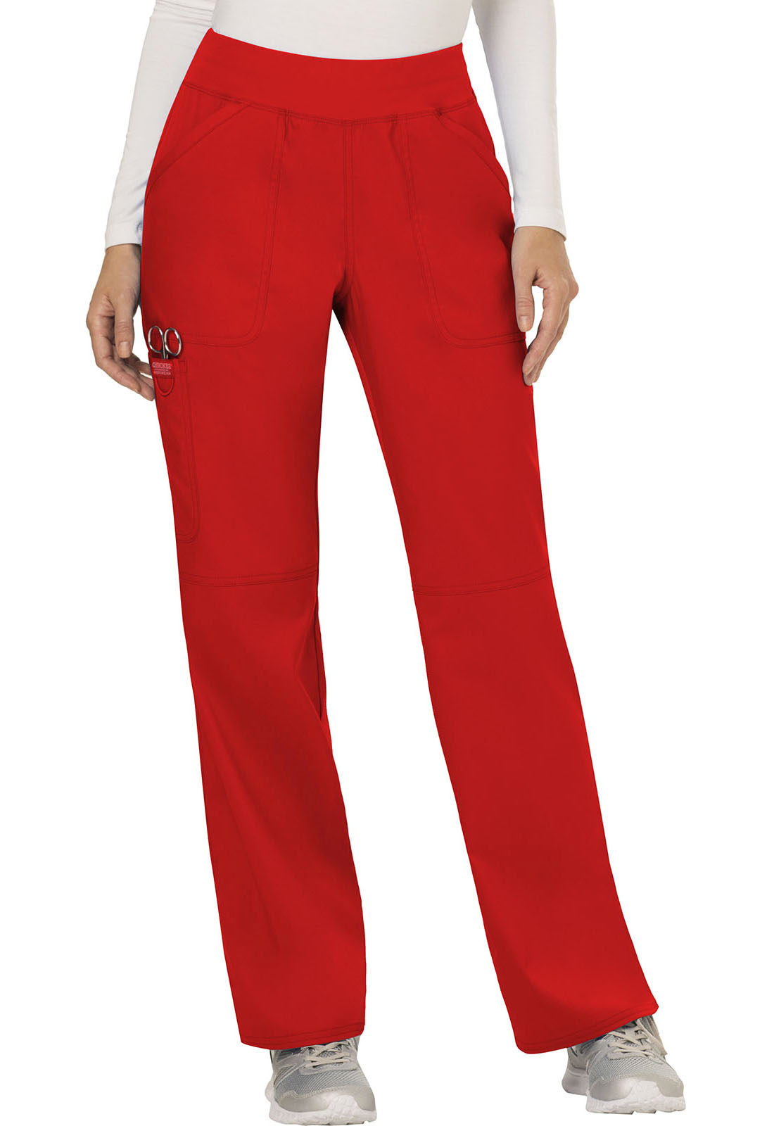4db874237e8 Cherokee Workwear. WW Revolution Mid Rise Straight Leg Pull-on Pant in Red ( Petite)