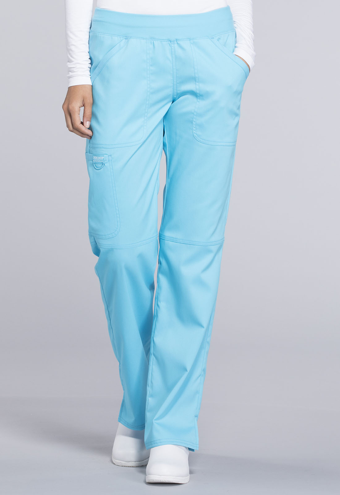 7a09f71b9b4 Cherokee Workwear. WW Revolution Mid Rise Straight Leg Pull-on Pant in  Turquoise (Petite)