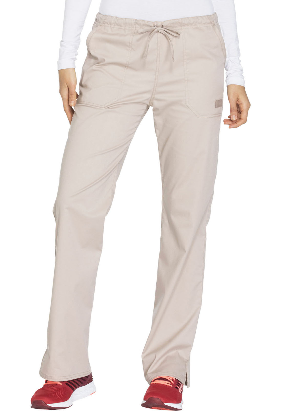 e6d096901ed Cherokee Workwear. WW Core Stretch Mid Rise Straight Leg Drawstring Pant in  Khaki (Petite)