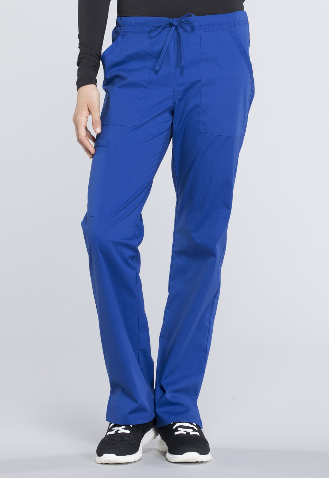 d6b68f68173 Cherokee Workwear. WW Professionals Mid Rise Straight Leg Drawstring Pant  in Galaxy Blue (Petite)