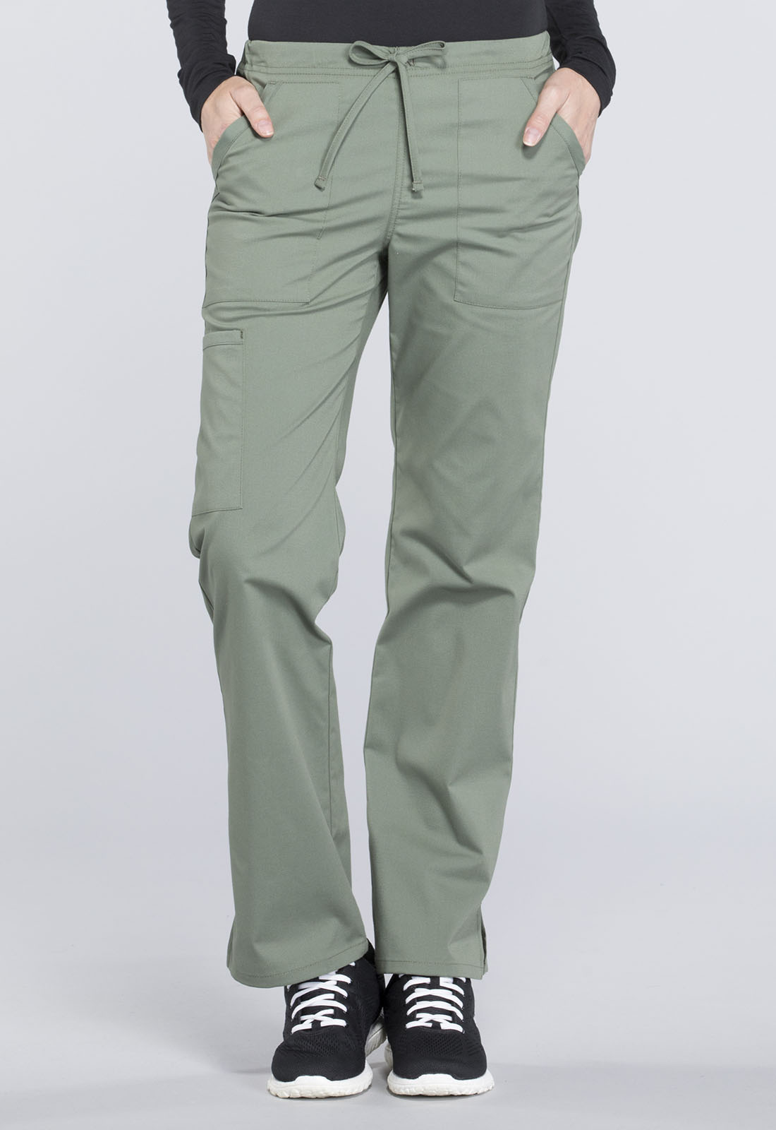 4a2a3449eff WW Professionals Mid Rise Straight Leg Drawstring Pant in Olive (Petite)