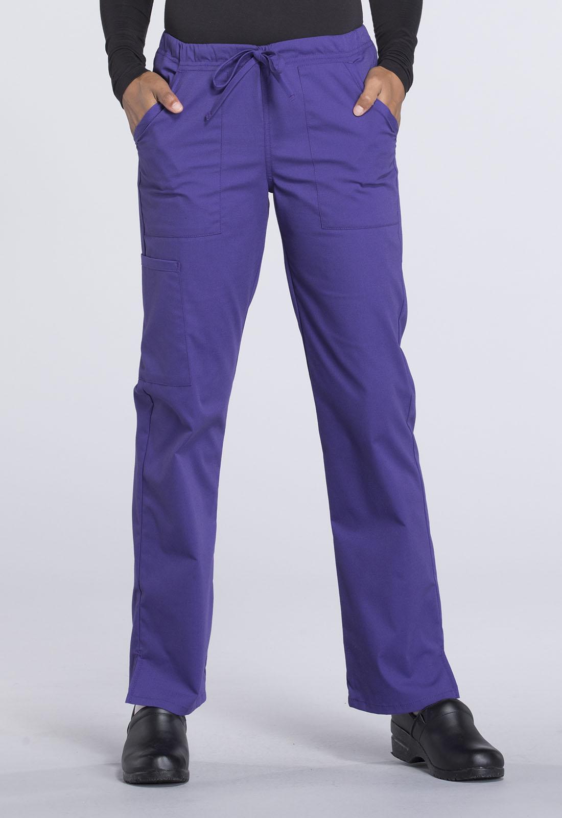e0502bdc678 WW Professionals Women's Mid Rise Straight Leg Drawstring Pant Purple