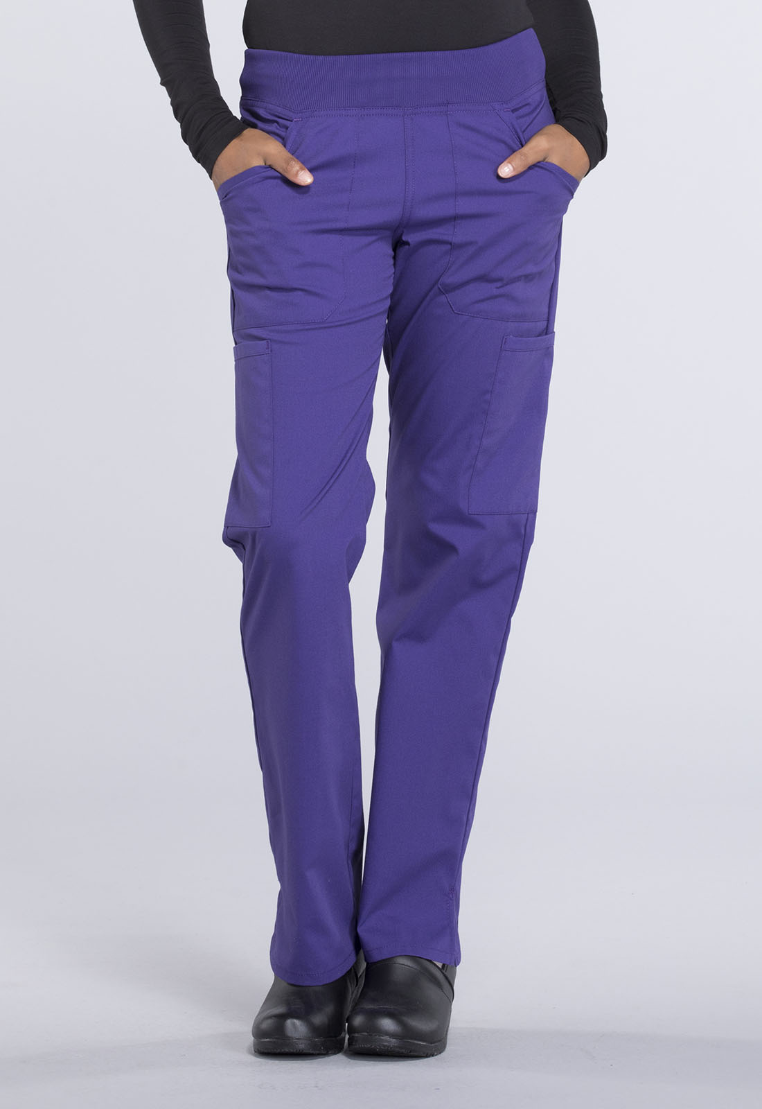 bf30d6173de Cherokee Workwear. WW Professionals Mid Rise Straight Leg Pull-on Cargo Pant  in Grape (Petite)