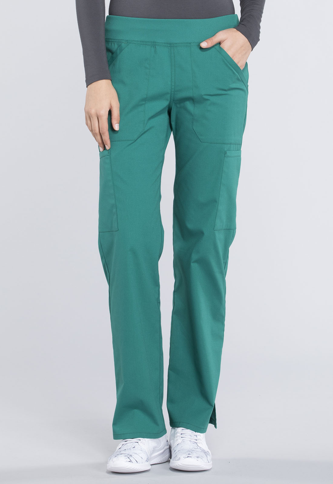 d571dde3807 Cherokee Workwear. WW Professionals Mid Rise Straight Leg Pull-on Cargo Pant  in Hunter Green (Petite)