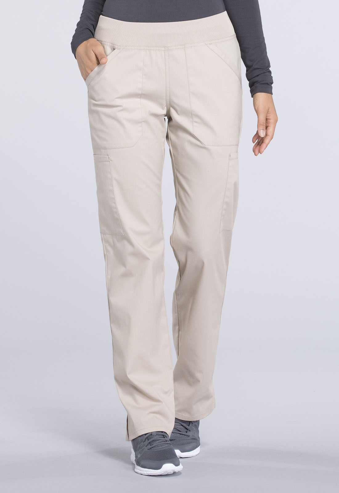 83caf9634bb Cherokee Workwear. WW Professionals Mid Rise Straight Leg Pull-on Cargo Pant  in Khaki (Petite)