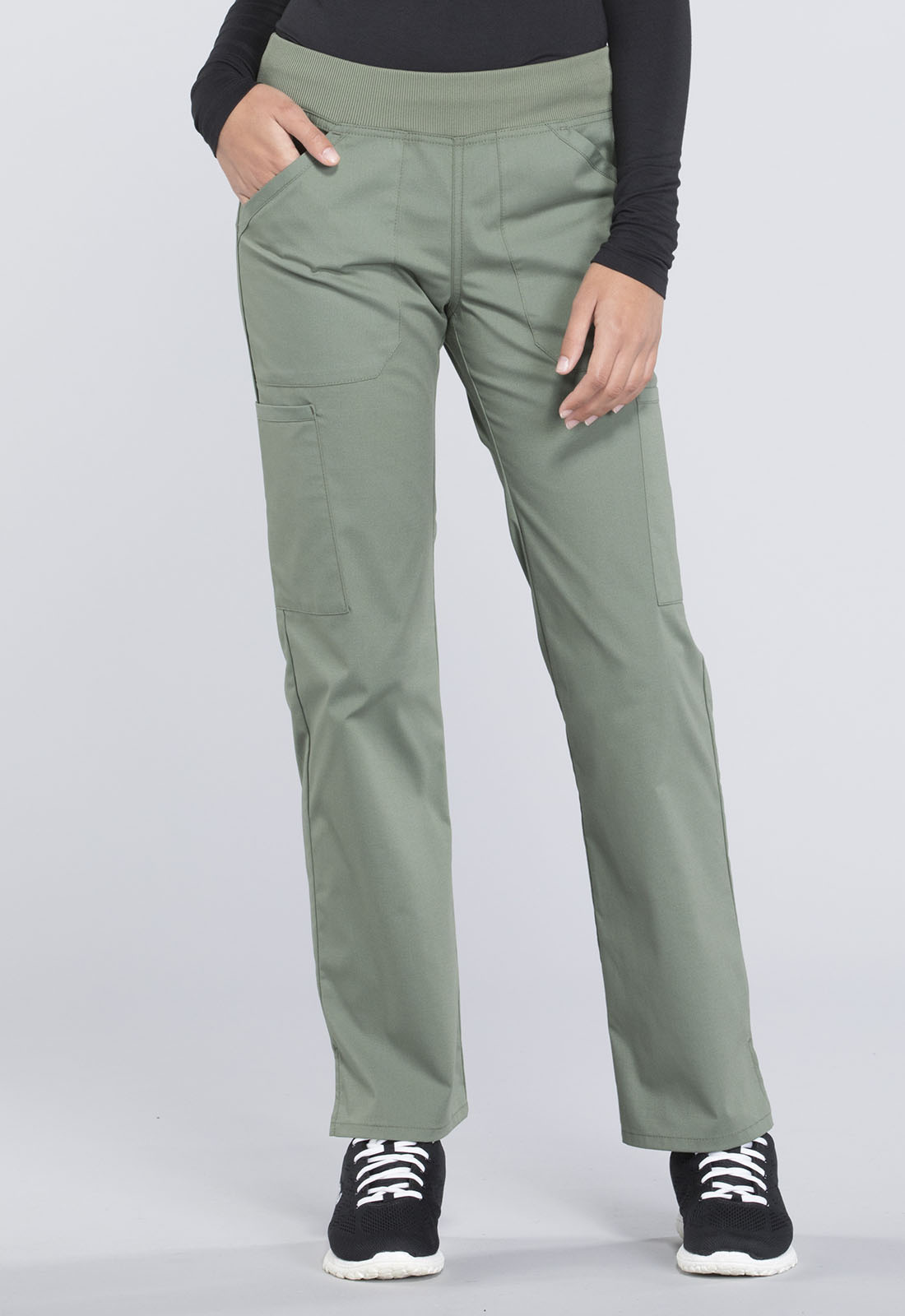 053fb7b3901 Cherokee Workwear. WW Professionals Mid Rise Straight Leg Pull-on Cargo Pant  in Olive (Petite)