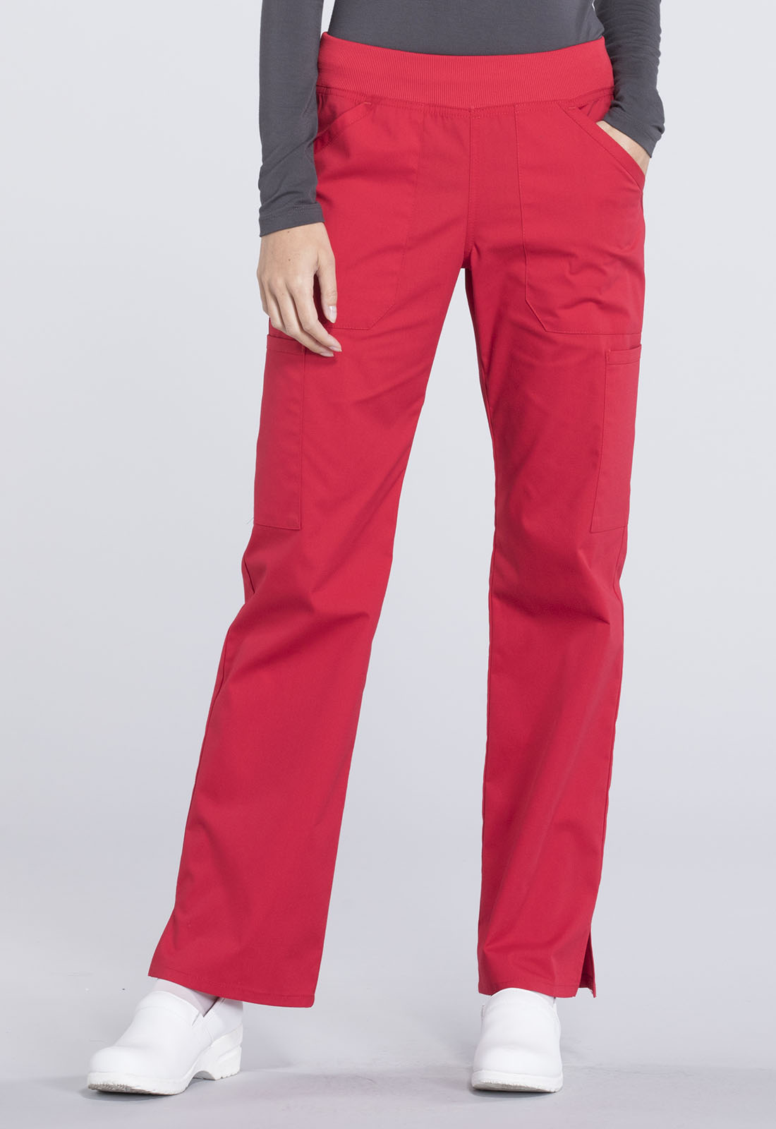 40d671c712b Cherokee Workwear. WW Professionals Mid Rise Straight Leg Pull-on Cargo Pant  in Red (Petite)