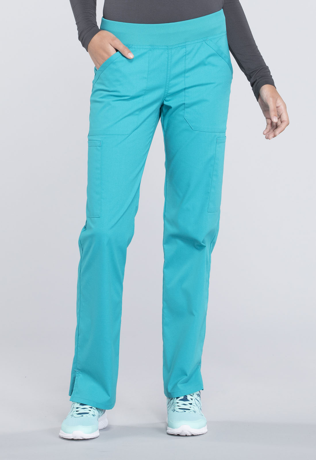 6d0a608586c Cherokee Workwear. WW Professionals Mid Rise Straight Leg Pull-on Cargo Pant  in Teal Blue (Petite)