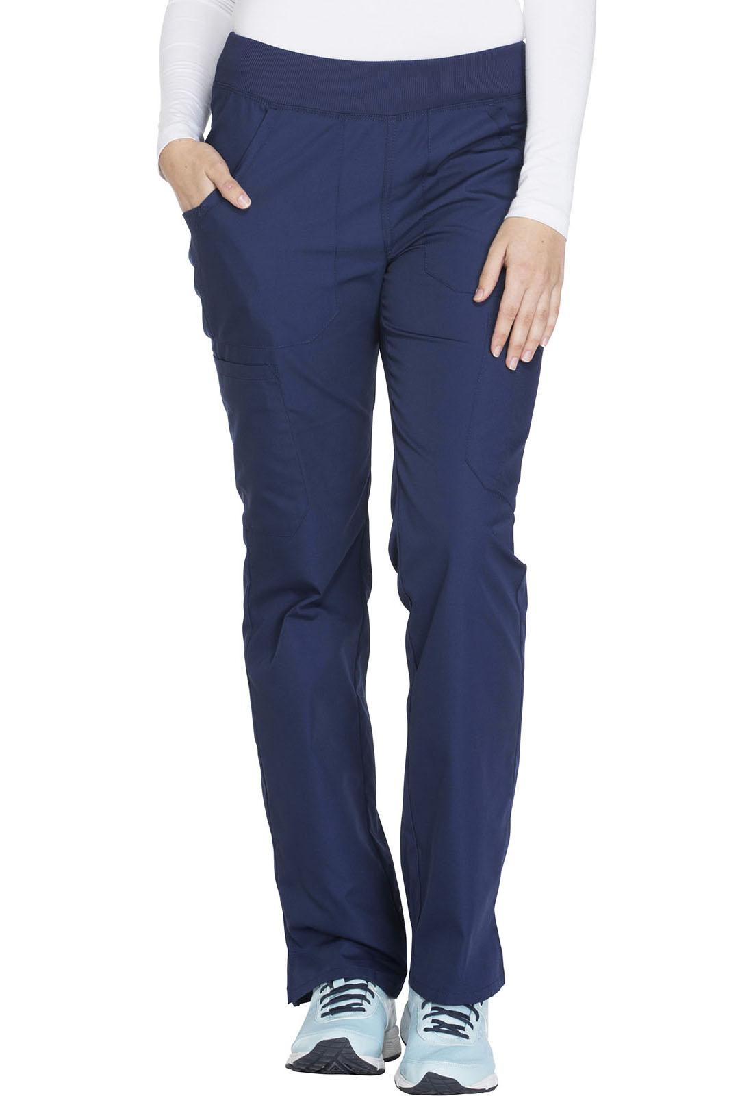 0bf068bb1a9 Cherokee Workwear. WW Originals Mid Rise Straight Leg Pull-on Cargo Pant in  Navy (Petite)