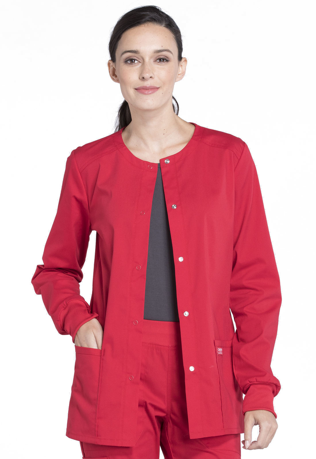 d18d6f7938c WW Professionals Snap Front Warm-up Jacket in Red WW340-RED from DASCO Reid  Uniform & Shoes