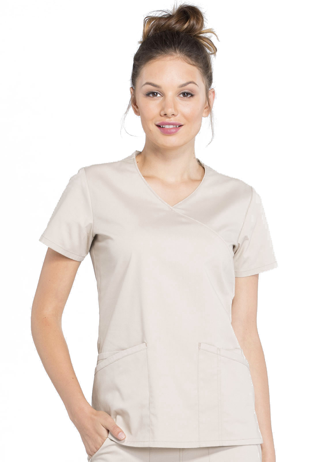 60808a5bd5a WW Professionals Mock Wrap Top in Khaki WW655-KAK from James Medical ...
