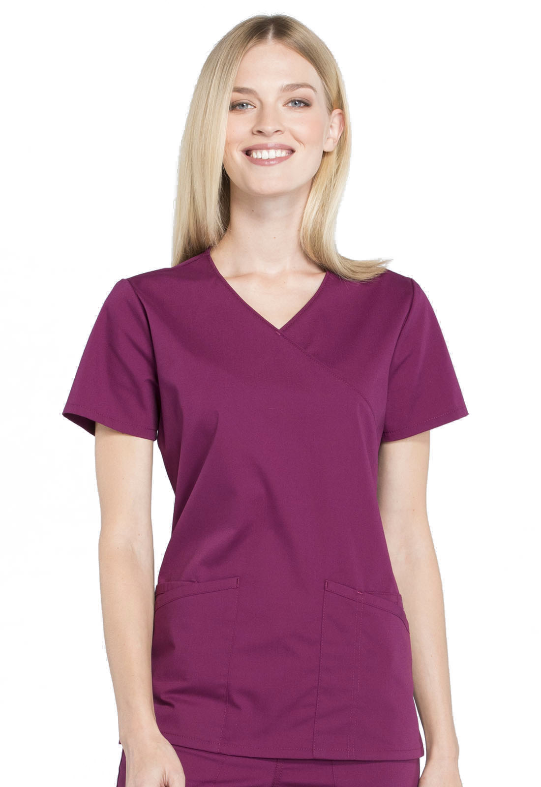 642c4cb3c6a WW Professionals Mock Wrap Top in Wine WW655-WIN from Dubs Scrubs ...