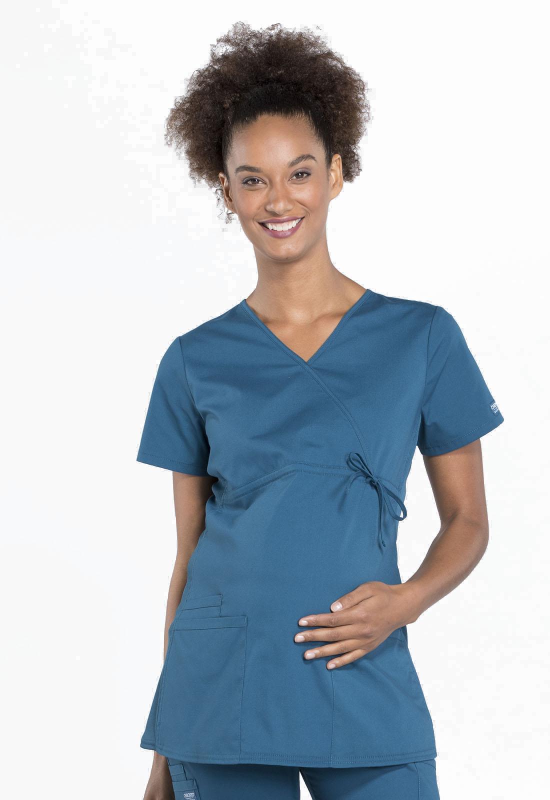 cee85b53de95e WW Professionals Maternity Mock Wrap Top in Caribbean Blue WW685-CAR ...