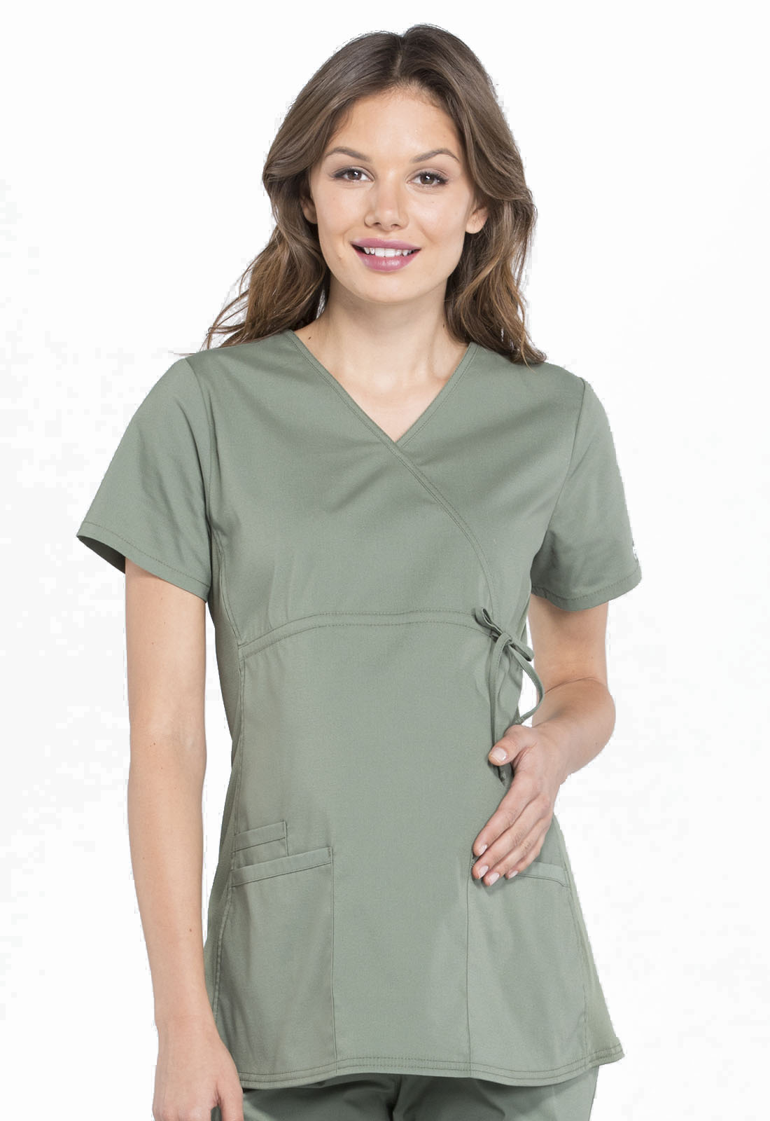 3eb13bb1ff8 Cherokee Workwear. WW Professionals Maternity Mock Wrap Top in Olive