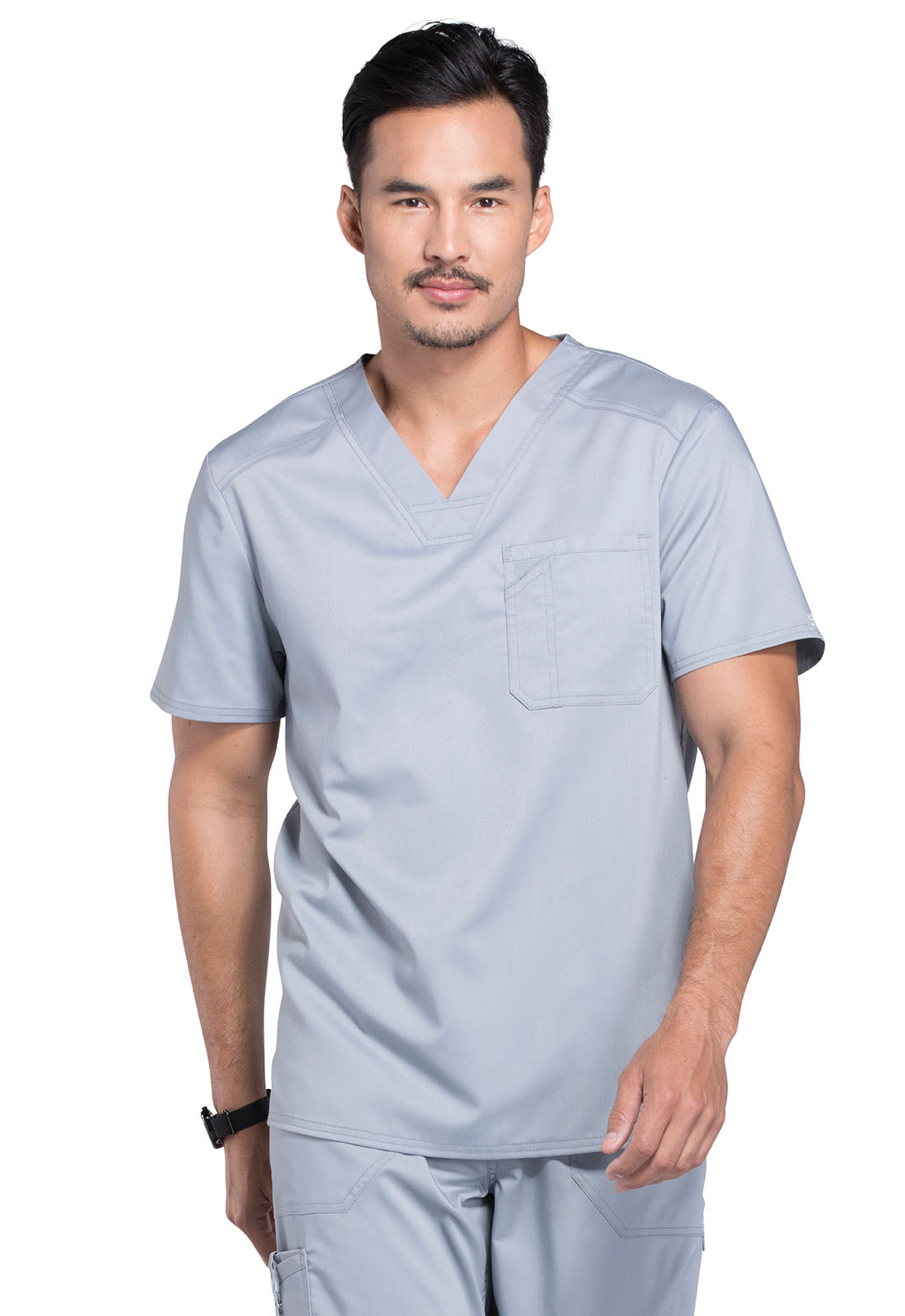 52c179e0e08 WW Revolution Men's V-Neck Top in Grey WW690-GRY from Scrubs Express