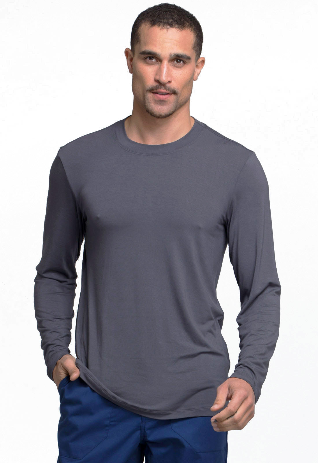 f340bbb3454 WW Professionals Men's Underscrub Knit Top in Pewter WW700-PWT from ...