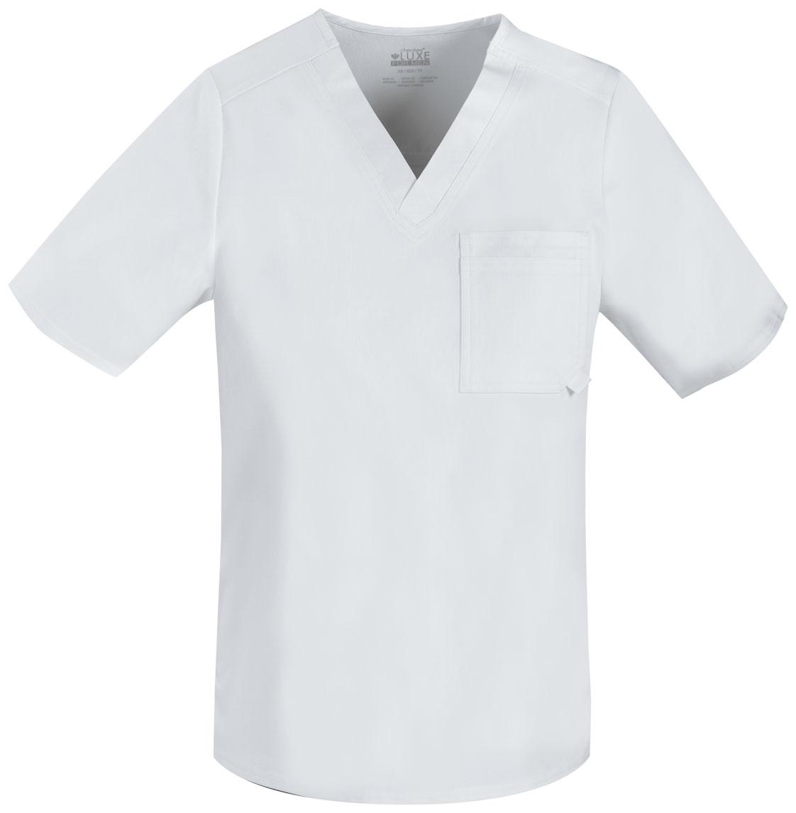 25e10654e6f Luxe Men's V-Neck Top in White 1929-WHTV from Cherokee Scrubs at ...