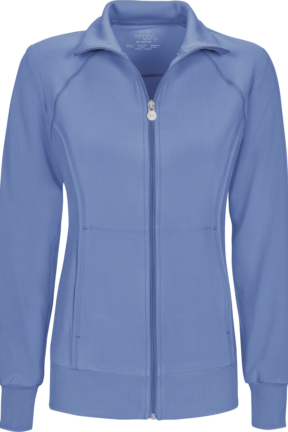 54bc1a40c9c Infinity Zip Front Warm-Up Jacket in Ciel 2391A-CIPS from Scrubs Express
