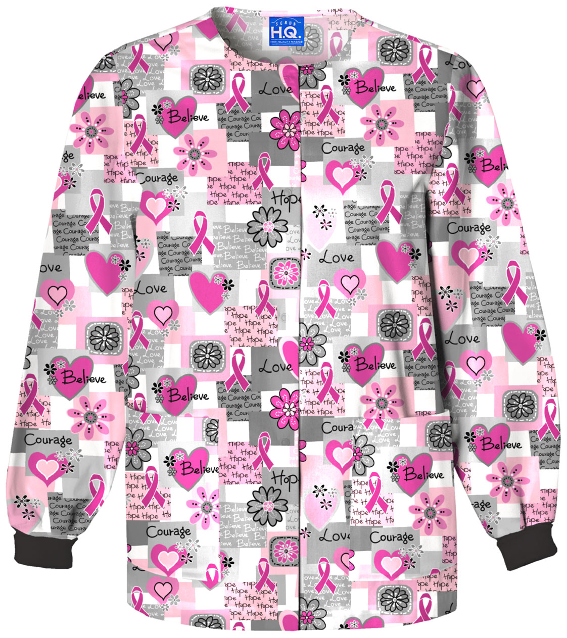 095b271d107 Cherokee Prints Snap Front Warm-Up Jacket in Words of Love 4350-WRDS ...