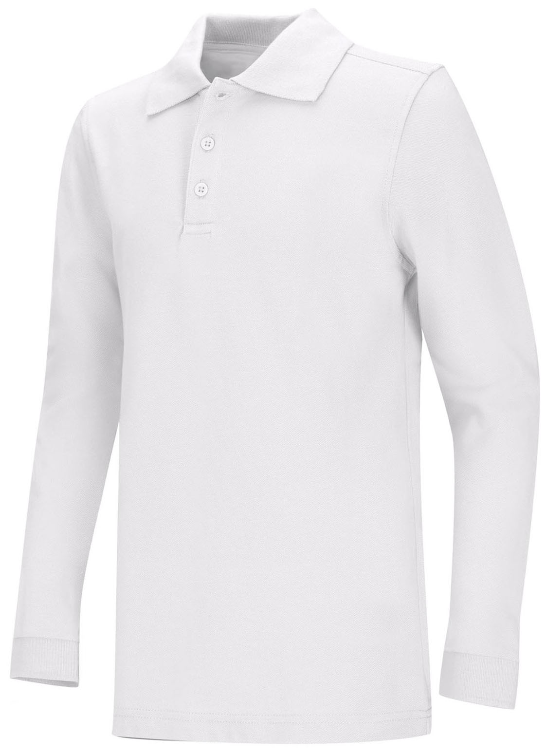3ff53ff3be6 Classroom Adult Unisex Long Sleeve Pique Polo in White 58354-WHT ...