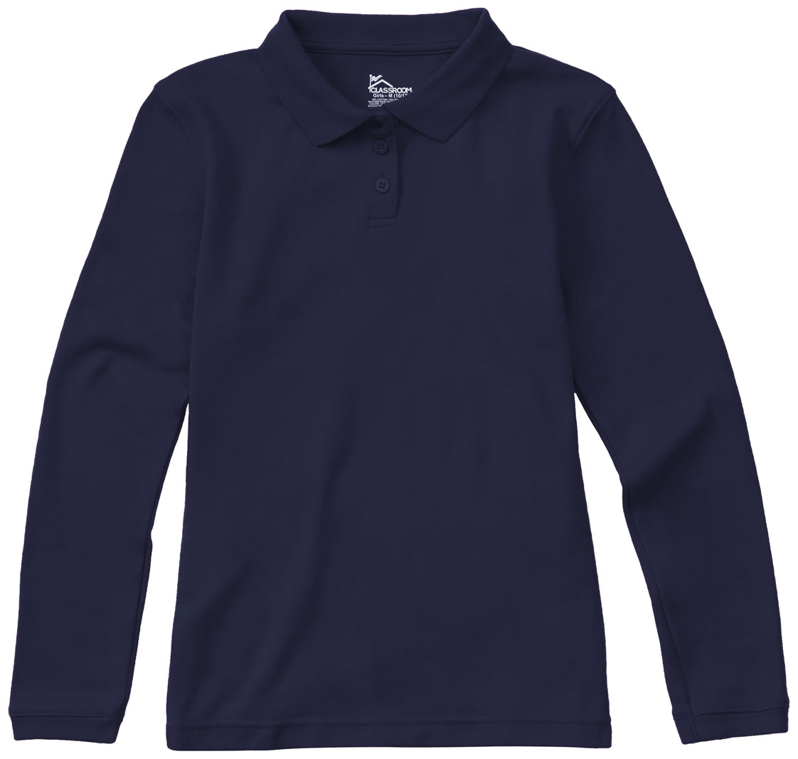 dcb77a456 Classroom Junior Long Sleeve Fitted Interlock Polo in SS Navy 58544 ...