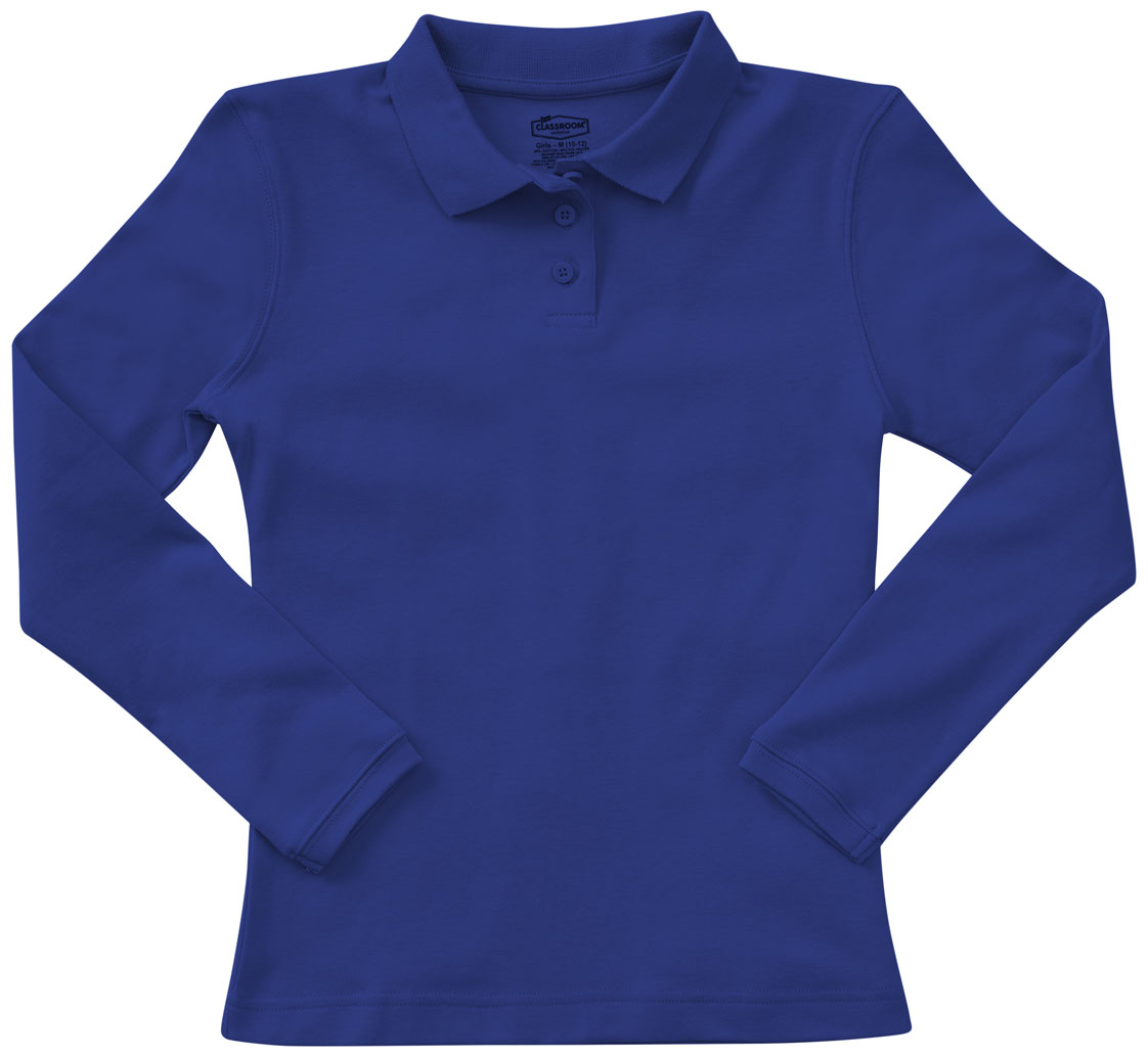 5b3f60e86 Classroom Junior Long Sleeve Fitted Interlock Polo in SS Royal 58544 ...