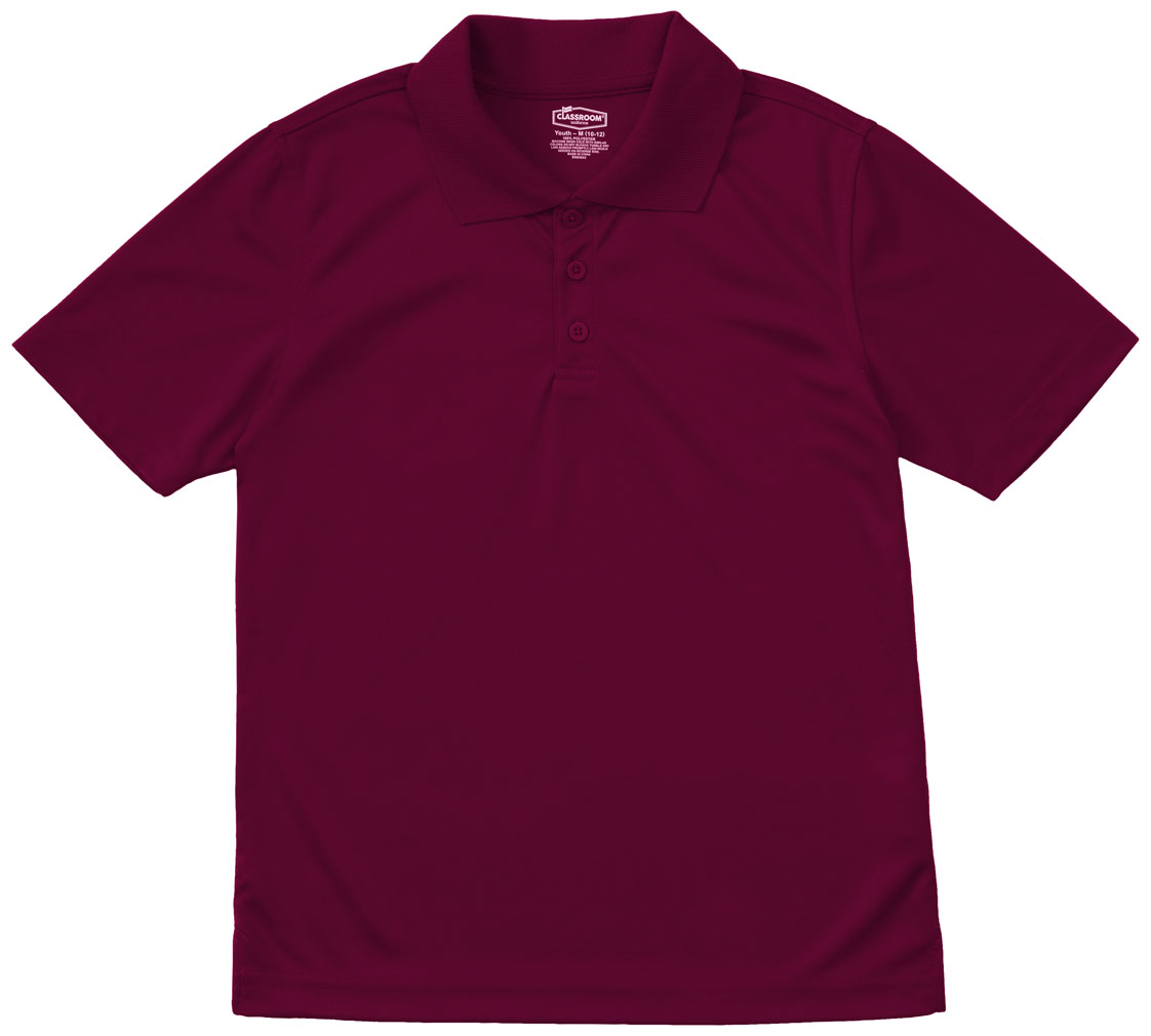 Classroom Youth Unisex Moisture Wicking Polo Shirt In Burgundy 58602