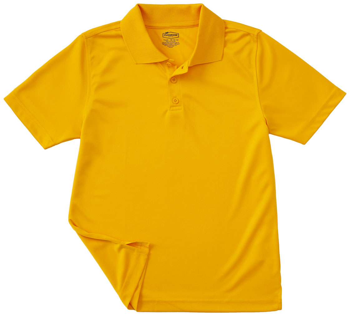 Classroom Adult Unisex Moisture Wicking Polo Shirt In Gold 58604