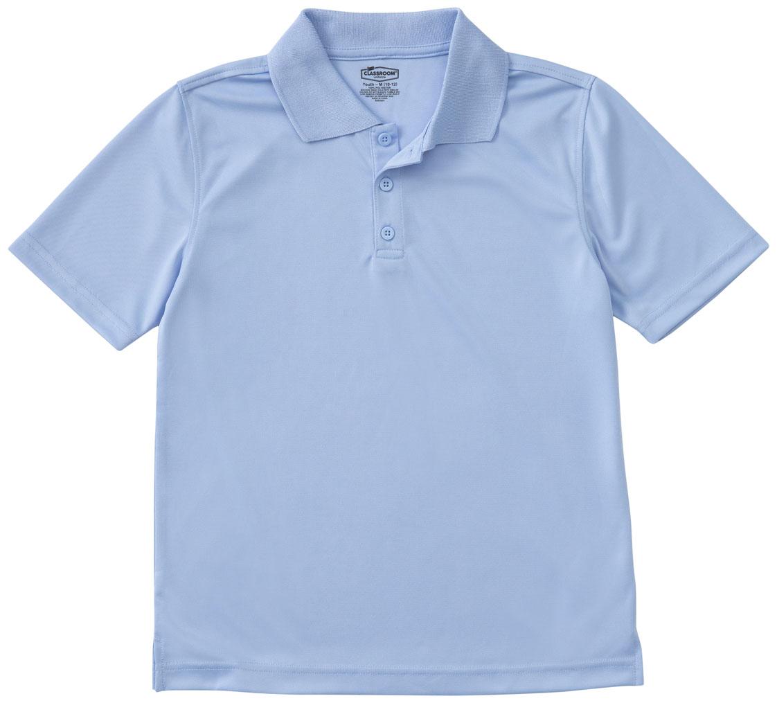 07b04f31 Classroom Adult Unisex Moisture-Wicking Polo Shirt in SS Light Blue ...
