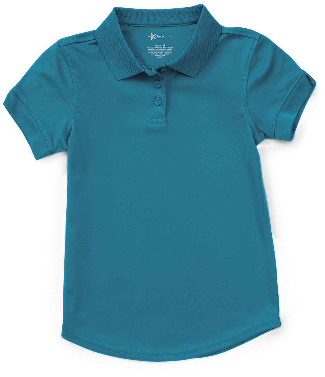Classroom Girls Ss Moisture Wicking Polo In Teal 58632 Teal From