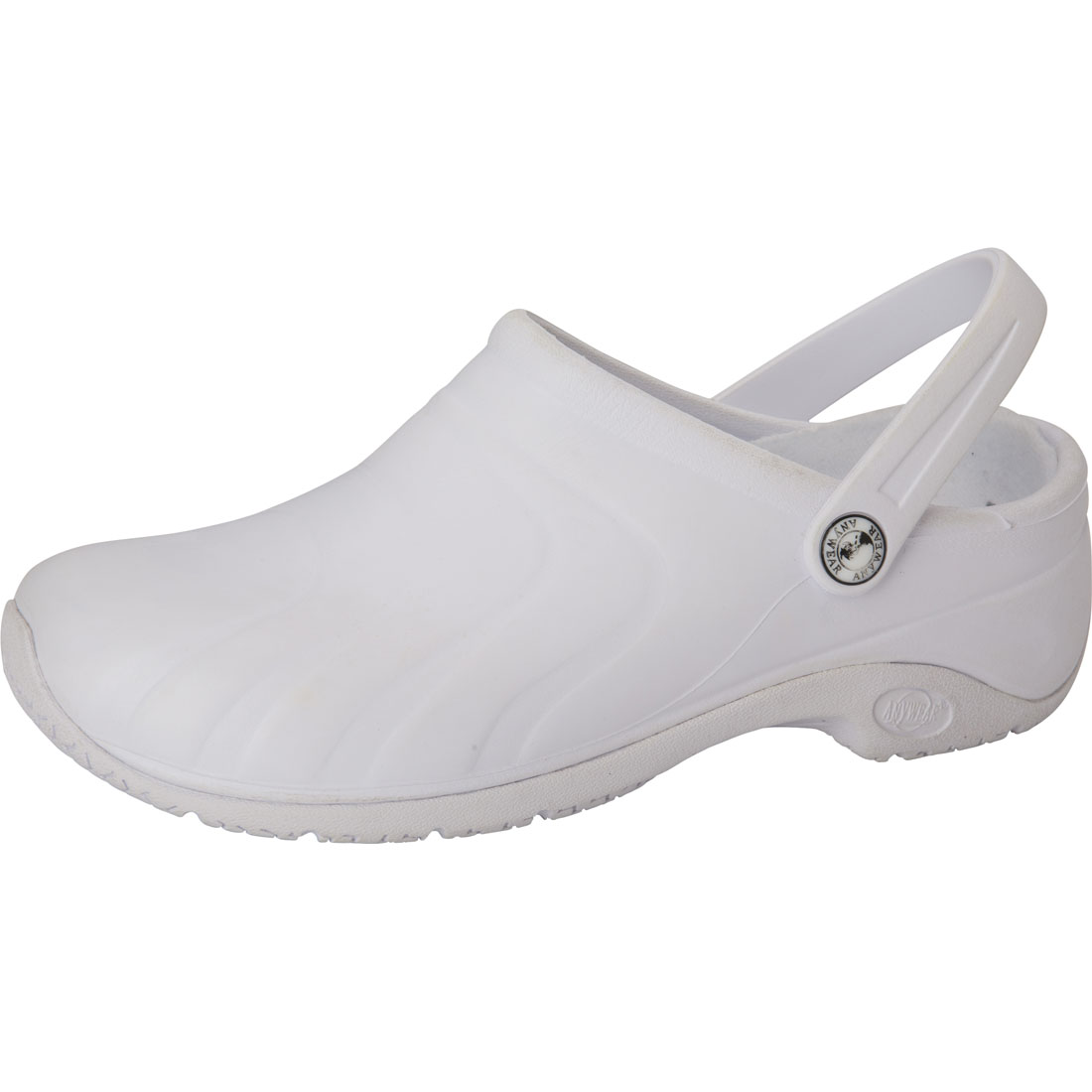 Anywear Medical Footwear Unisex Anywear Injected Clog w/Backstrap White