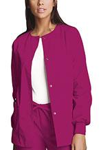 Cherokee Workwear Snap Front Warm-Up Jacket Raspberry (4350-RASW)