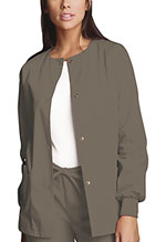 Cherokee Workwear Snap Front Warm-Up Jacket Taupe (4350-TAUW)