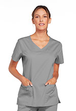 Cherokee Workwear V-Neck Top Grey (4727-GRYW)