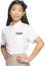 Classroom Uniforms Classroom Girls Short Sleeve Oxford in White (57362-WHT)