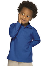 Classroom Uniforms Classroom Preschool Unisex LS Pique Polo in SS Royal (58350-SSRY)