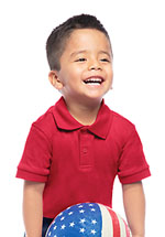 Classroom Uniforms Classroom Preschool Unisex SS Interlock Polo in Red (58830-RED)