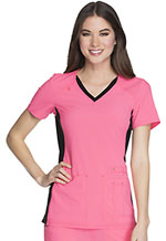Cherokee V-Neck Knit Panel Top Karma Pink with Black Contrast (CK605-KRBK)
