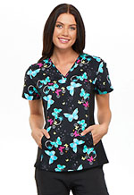 Cherokee V-Neck Knit Panel Top Botanic Flutters (CK626-BOFT)