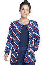 Dickies Prints Snap Front Warm-Up Jacket in Americana Hearts (DK309-AMRH)