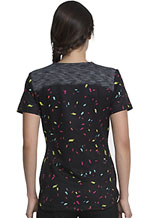 Photograph of Dickies Dickies Prints V-Neck Top in Rainbow Party