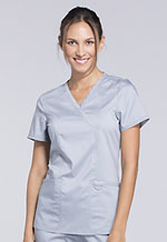 Cherokee Workwear Mock Wrap Top Grey (WW610-GRY)